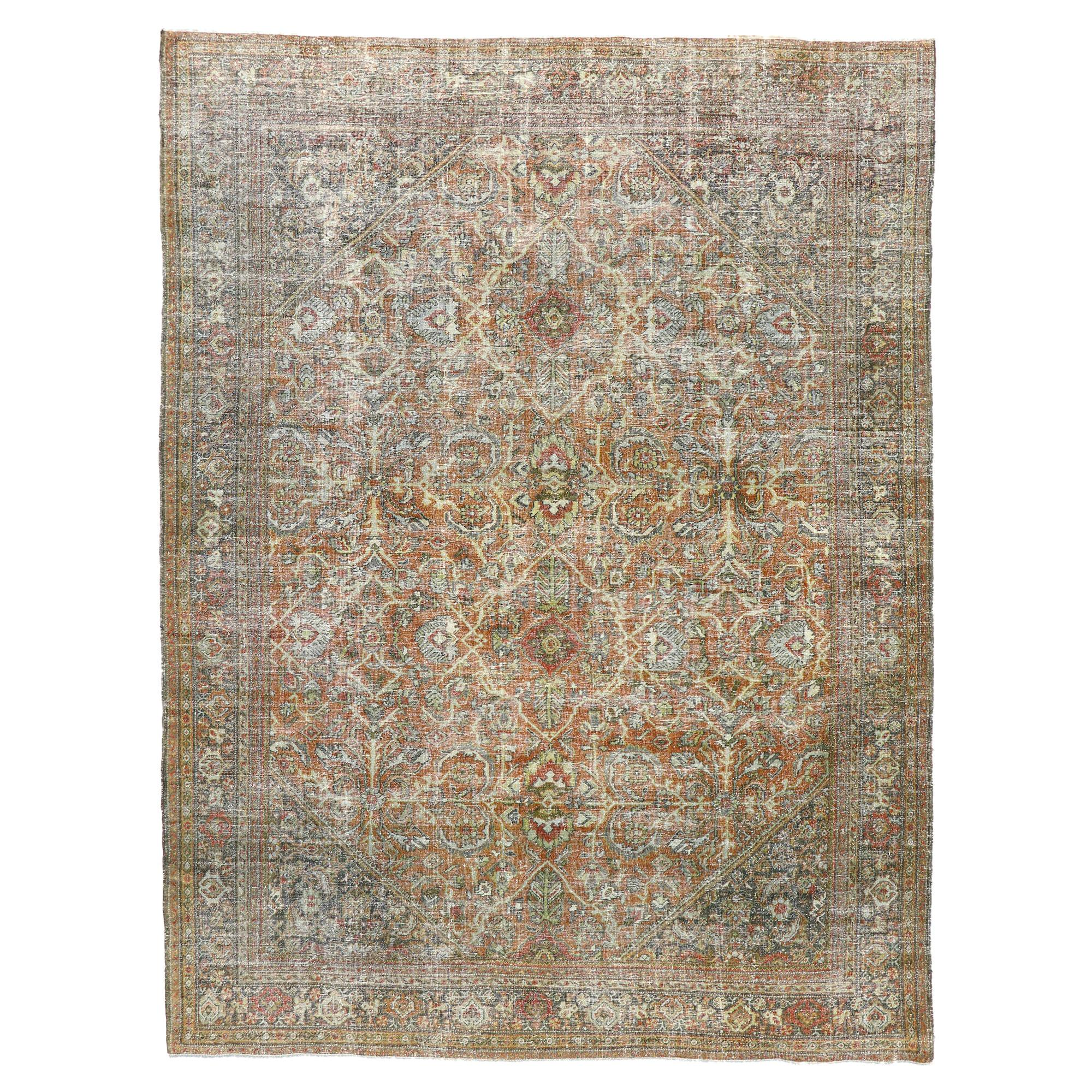 Distressed Antique Persian Mahal Area Rug with Rustic English Traditional Style