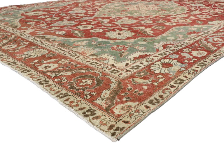 52679, distressed antique Persian Mahal Design rug with English Manor Chintz style. With a Classic floral pattern and traditional feel, this hand knotted wool distressed antique Persian Mahal design rug beautifully embodies English Chintz style.