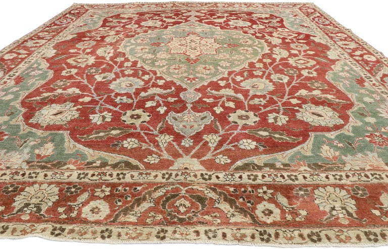 Tabriz Distressed Antique Persian Mahal Design Rug with English Manor Chintz Style For Sale