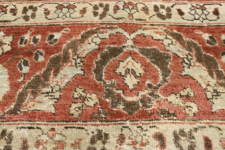 Turkish Distressed Antique Persian Mahal Design Rug with English Manor Chintz Style For Sale