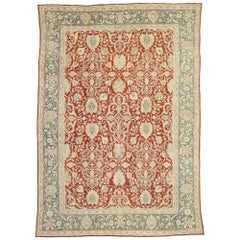 Distressed Antique Persian Mahal Design Rug with English Manor Chintz Style