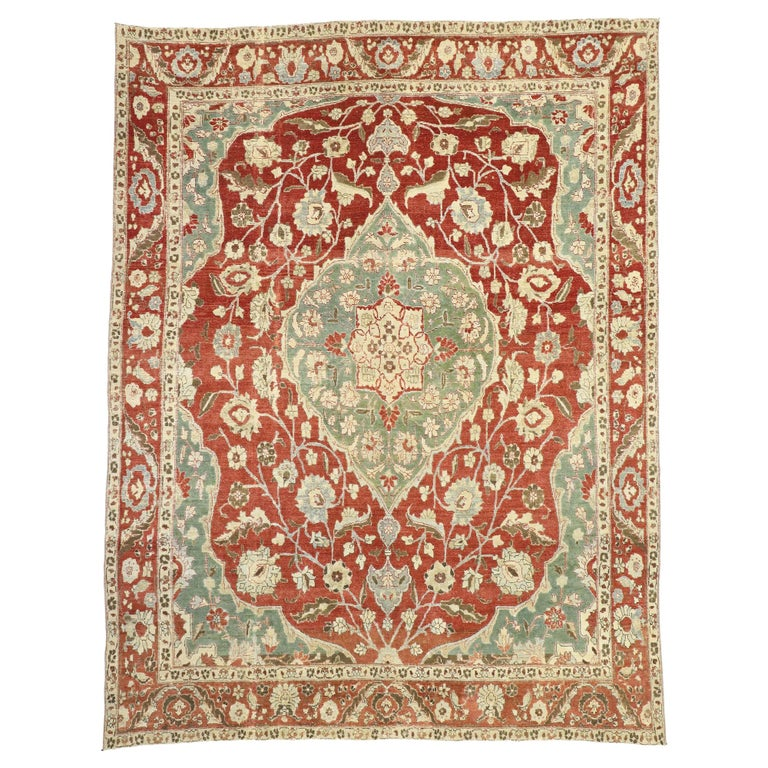 Distressed Antique Persian Mahal Design Rug with English Manor Chintz Style For Sale