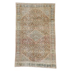 Distressed Antique Persian Mahal Design Rug with Modern Rustic Belgian Style