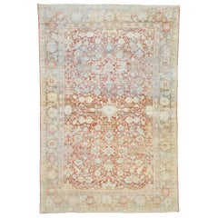 Distressed Antique Persian Mahal Design Rug with Relaxed Federal Style