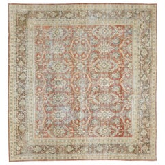 Distressed Antique Persian Mahal Design Rug with Rustic Lake and Lodge Style
