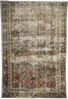 Distressed Antique Persian Mahal Rug with Traditional English Rustic Style