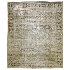 Distressed Antique Persian Mahal Rug with Modern Rustic English Manor Style