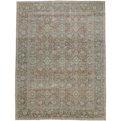Distressed Antique Persian Mahal Rug with Rustic American Colonial Style