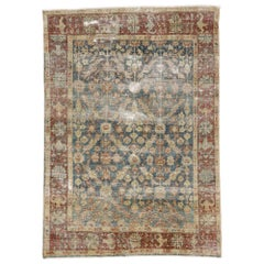 Distressed Antique Persian Mahal Rug with Rustic English Style