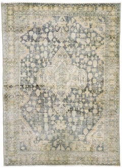 Distressed Antique Persian Mahal Rug with Rustic Gustavian Cottage Style