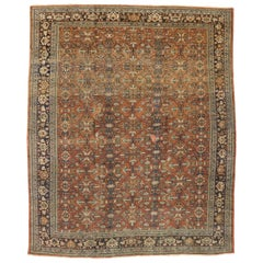 Distressed Antique Persian Mahal Rug with Rustic Italian Mediterranean Style