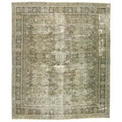 Distressed Antique Persian Mahal Rug with Worn-In Modern Rustic English Style