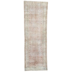 Distressed Antique Persian Mahal Runner with Relaxed Federal Style