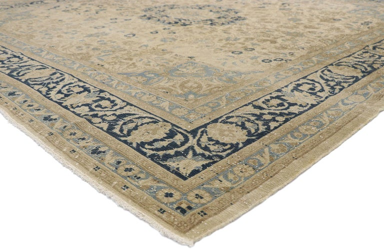52629, distressed antique Persian Malayer design rug with neoclassical Gustavian style. With its ornate floral detailing and weathered beauty combined with nostalgic charm, this hand knotted wool distressed antique Persian Malayer Design rug creates