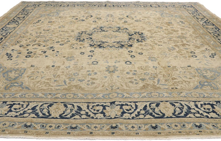 Turkish Distressed Antique Persian Malayer Design Rug with Neoclassical Gustavian Style For Sale