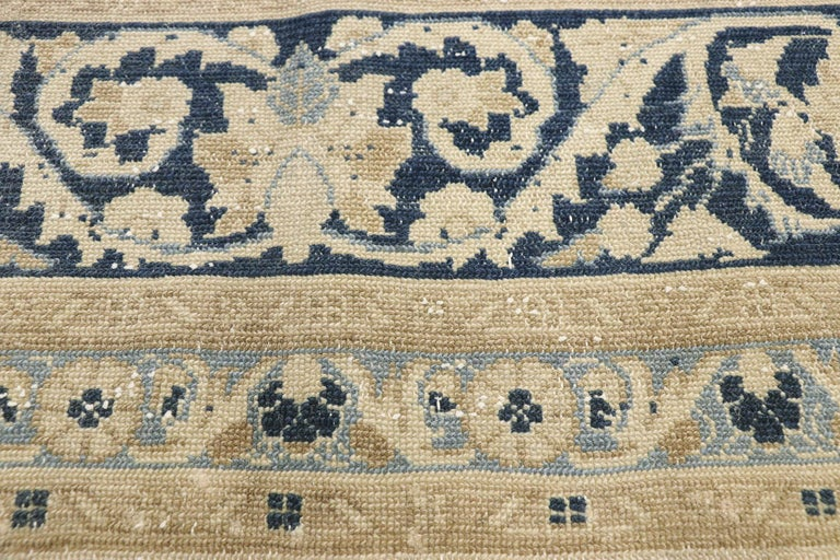 Hand-Knotted Distressed Antique Persian Malayer Design Rug with Neoclassical Gustavian Style For Sale