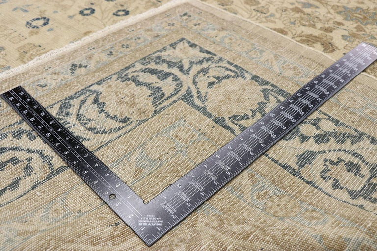 Distressed Antique Persian Malayer Design Rug with Neoclassical Gustavian Style In Distressed Condition For Sale In Dallas, TX