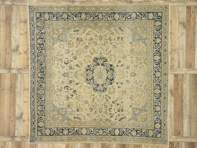 20th Century Distressed Antique Persian Malayer Design Rug with Neoclassical Gustavian Style For Sale