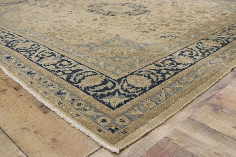 Wool Distressed Antique Persian Malayer Design Rug with Neoclassical Gustavian Style For Sale
