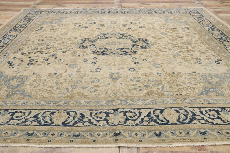 Distressed Antique Persian Malayer Design Rug with Neoclassical Gustavian Style For Sale 1