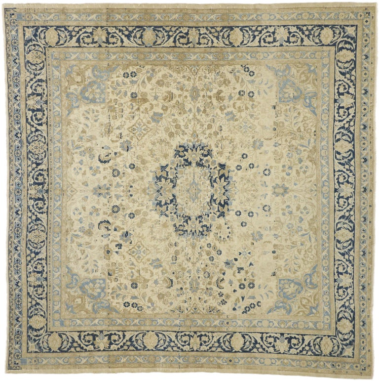 Distressed Antique Persian Malayer Design Rug with Neoclassical Gustavian Style For Sale 2