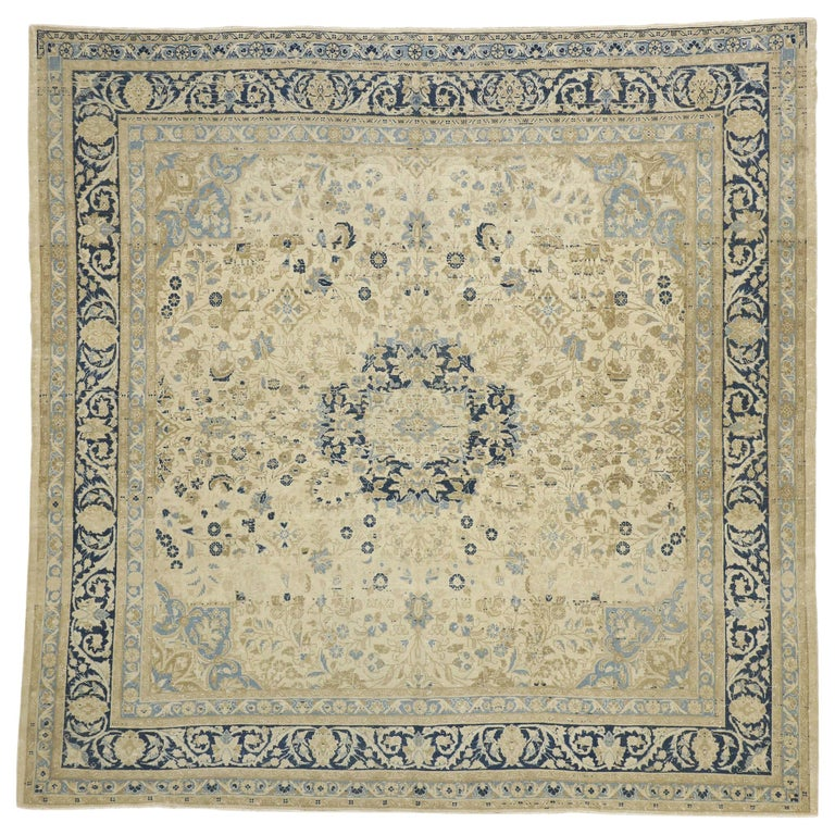 Distressed Antique Persian Malayer Design Rug with Neoclassical Gustavian Style For Sale