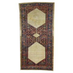 Distressed Antique Persian Malayer Gallery Rug with Camel Hair