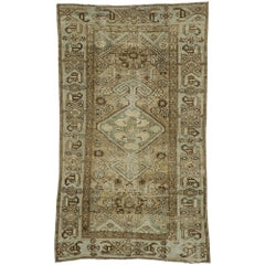 Distressed Antique Persian Malayer Rug with Modern Rustic Tribal Style