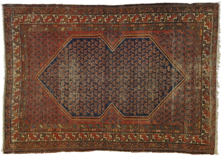 Distressed Antique Persian Malayer Rug with Rustic Artisan and Industrial Style For Sale 4