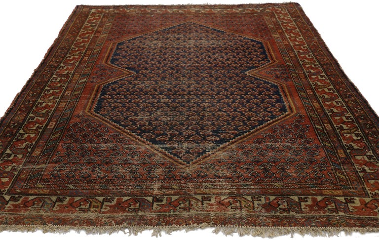 Hand-Knotted Distressed Antique Persian Malayer Rug with Rustic Artisan and Industrial Style For Sale