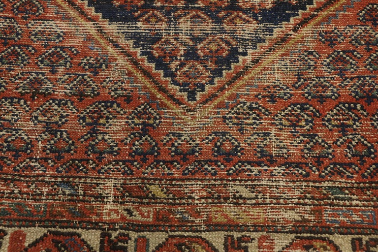Distressed Antique Persian Malayer Rug with Rustic Artisan and Industrial Style In Distressed Condition For Sale In Dallas, TX