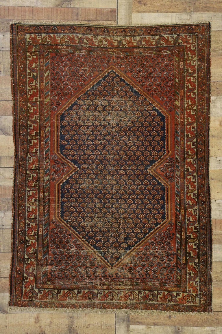 Distressed Antique Persian Malayer Rug with Rustic Artisan and Industrial Style For Sale 2