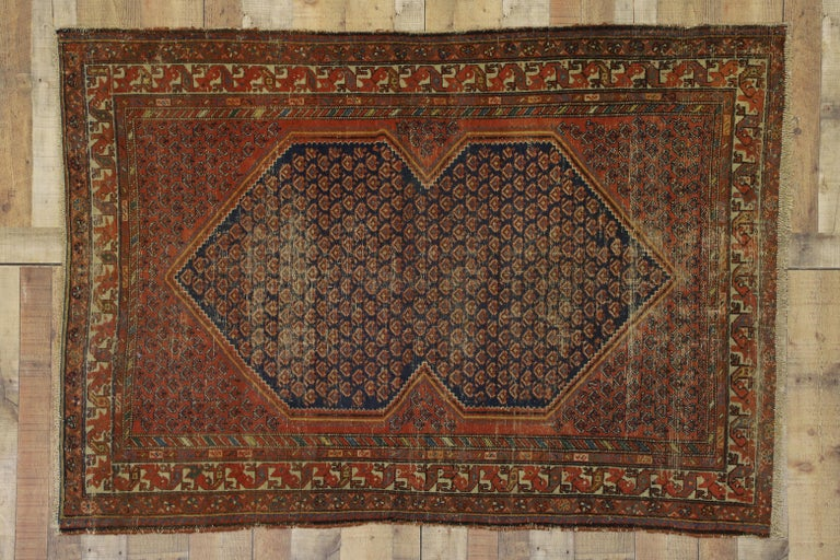 Distressed Antique Persian Malayer Rug with Rustic Artisan and Industrial Style For Sale 3