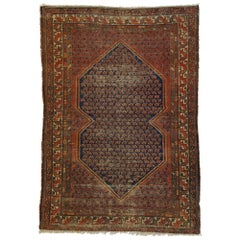 Distressed Antique Persian Malayer Rug with Rustic Artisan and Industrial Style