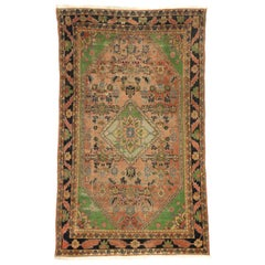 Distressed Antique Persian Malayer Rug with Rustic Arts & Crafts Style