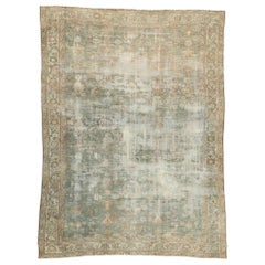 Distressed Antique Persian Malayer Rug with Rustic Gustavian Style