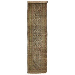 Distressed Antique Persian Malayer Runner, Hallway Runner