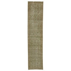 Distressed Antique Persian Malayer Runner with Cotswold Countryside Style