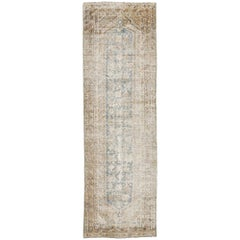 Distressed Antique Persian Malayer Runner with Rustic Gustavian Cottage Style