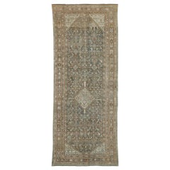 Distressed Antique Persian Malayer Style Gallery Rug with Rustic Craftsman Style