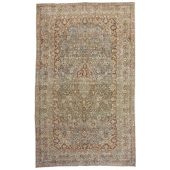 Distressed Antique Persian Mashad Rug with Modern Rustic American Artisan Style