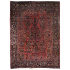 Distressed Antique Persian Sarouk Area Rug with Modern English Tudor Style