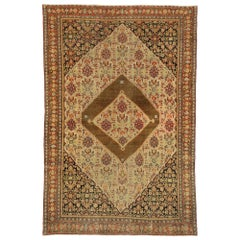 Distressed Antique Persian Senneh Rug with Rustic Mid-Century Modern Style