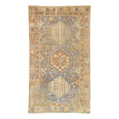 Distressed Antique Persian Shiraz Design Rug with Italian Cottage Rustic Style