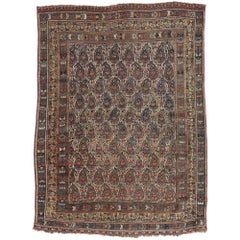 Distressed Antique Persian Shiraz Rug with Boteh Pattern and Modern Rustic Style