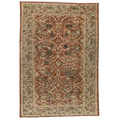 Distressed Antique Persian Sultanabad Hunting Scene Rug with Arts & Crafts Style