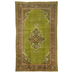 Distressed Antique Persian Sultanabad Palace Rug with Bold English Chintz Style