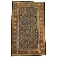 Distressed Antique Persian Sultanabad Palace Rug with Industrial Artisan Style