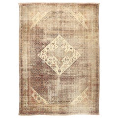 Distressed Antique Persian Sultanabad Rug with Modern Rustic Industrial Style