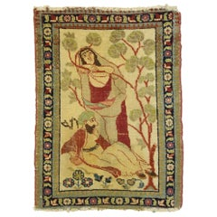 Distressed Antique Persian Tabriz Pictorial Rug Depicts Dervish with Master